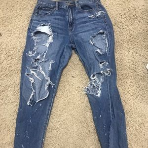 Super distressed mom fit jeans